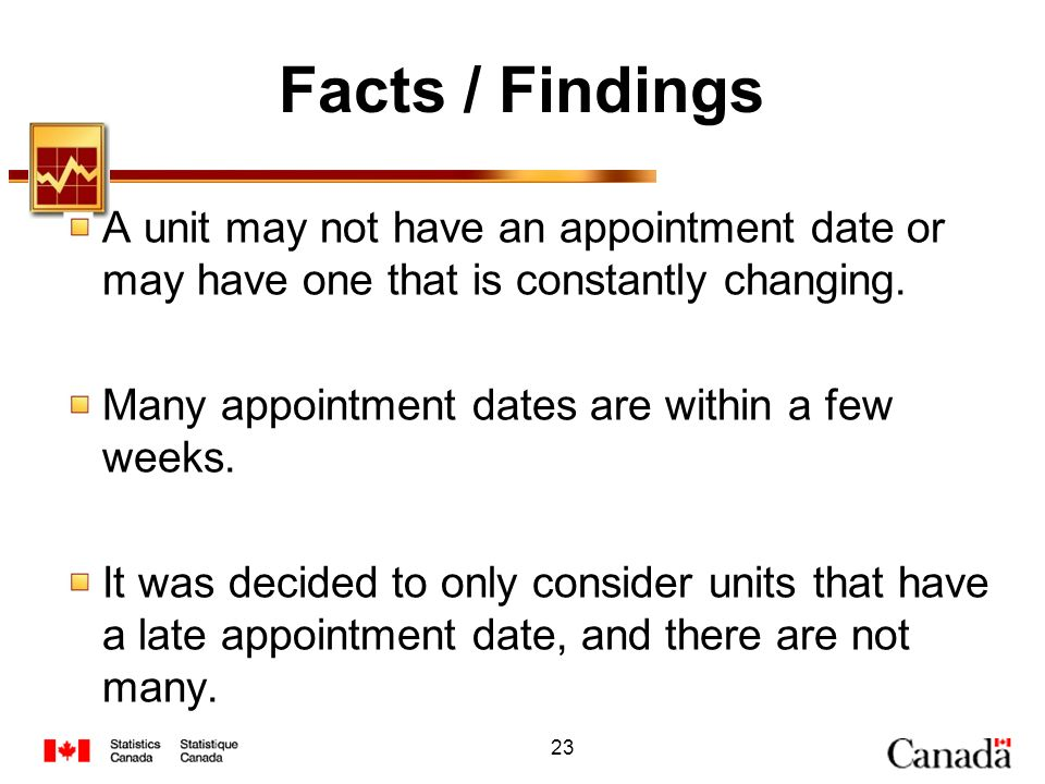 Facts / Findings A unit may not have an appointment date or may have one that is constantly changing.