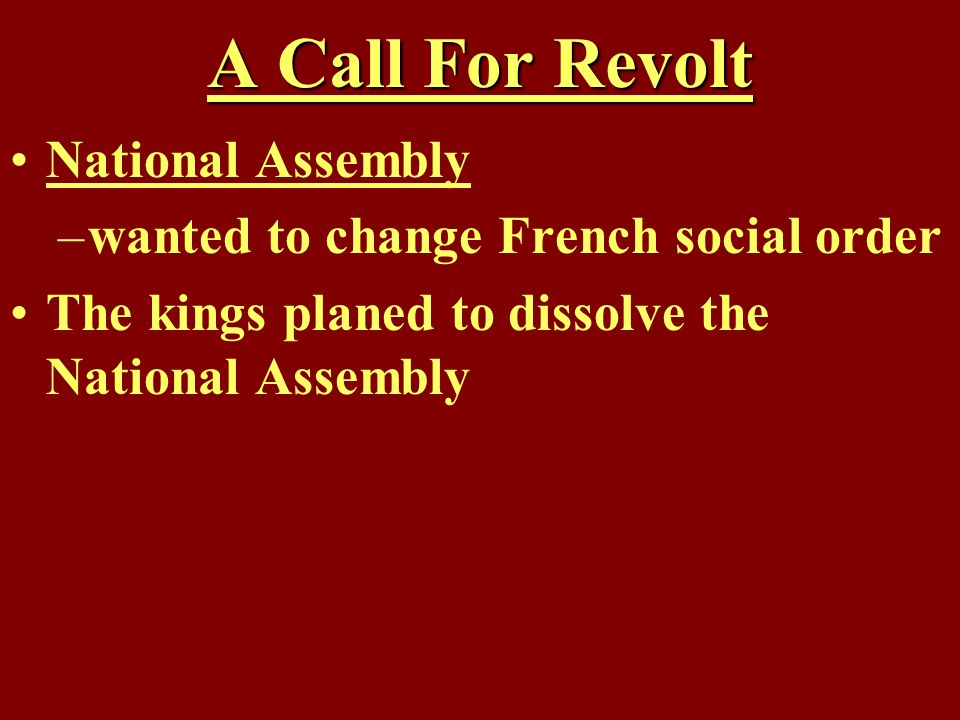 A Call For Revolt National Assembly