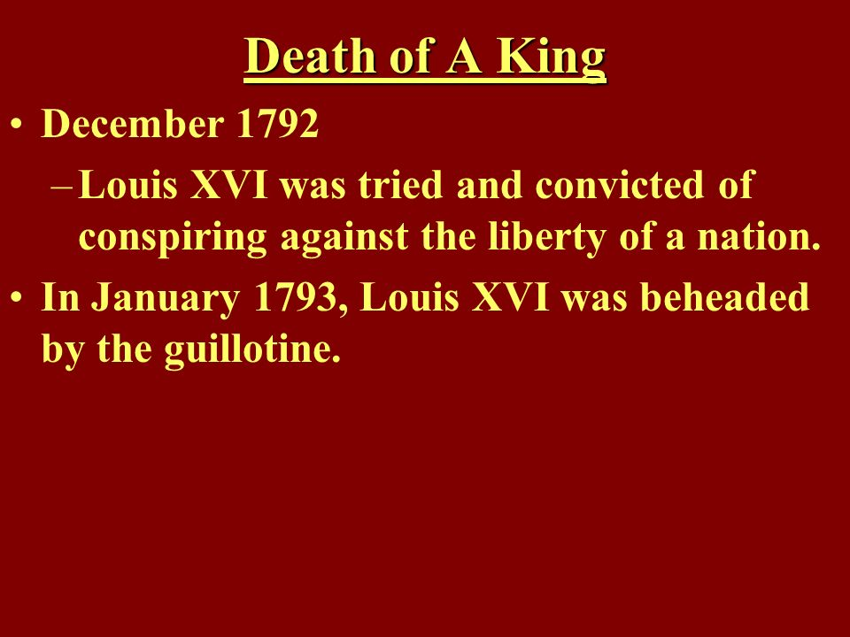 Death of A King December 1792