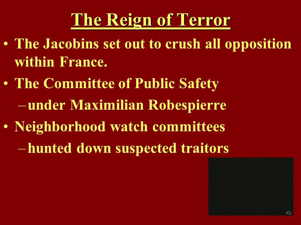 The Reign of Terror The Jacobins set out to crush all opposition within France. The Committee of Public Safety.