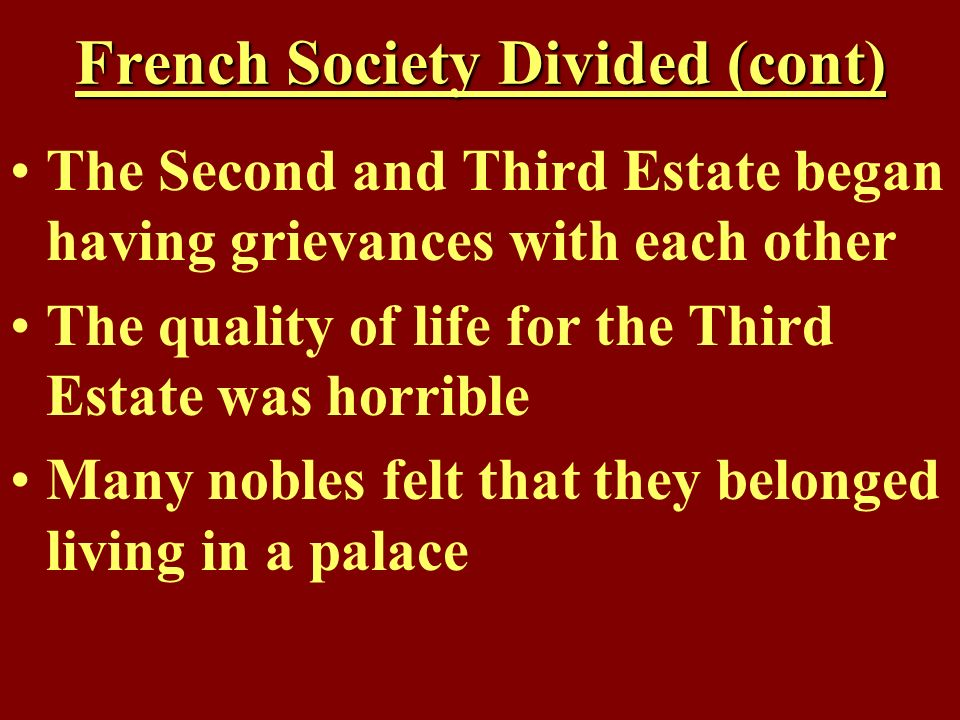 French Society Divided (cont)