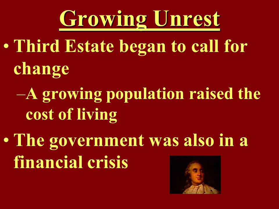Growing Unrest Third Estate began to call for change