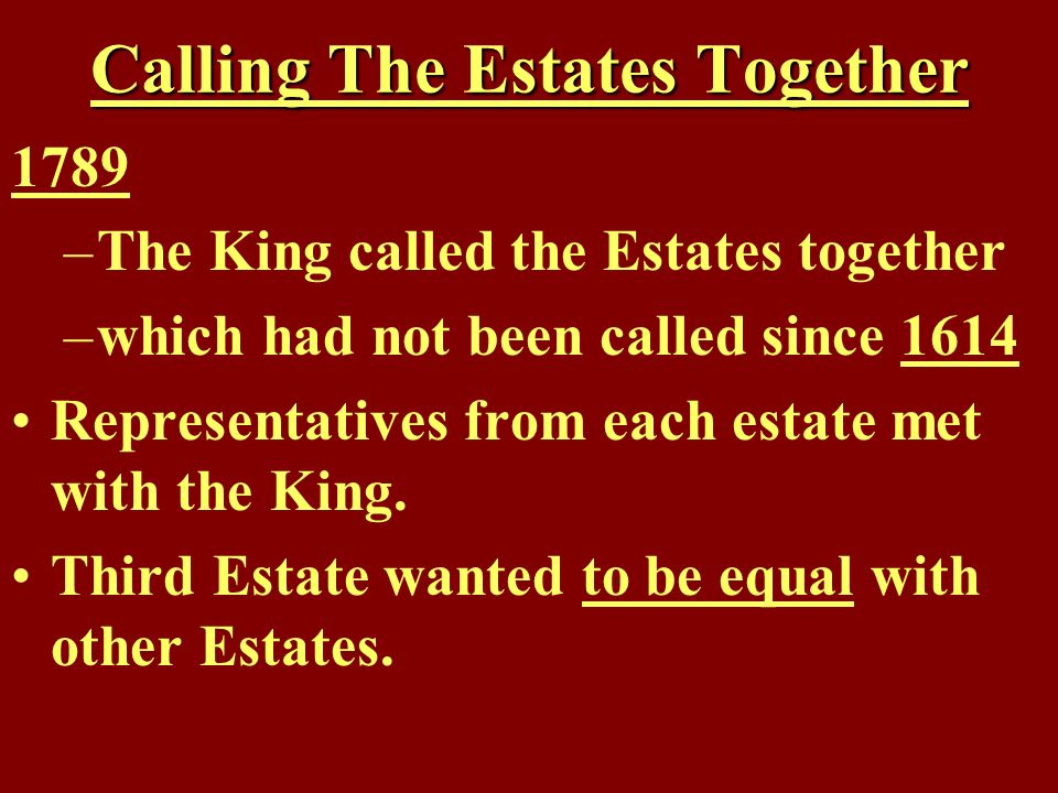 Calling The Estates Together