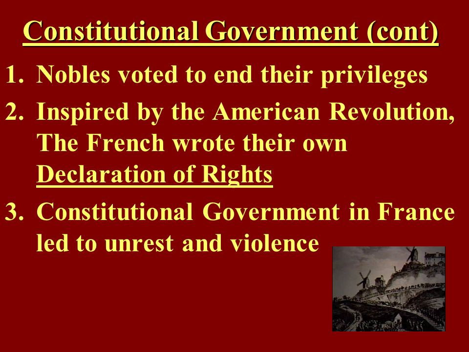 Constitutional Government (cont)