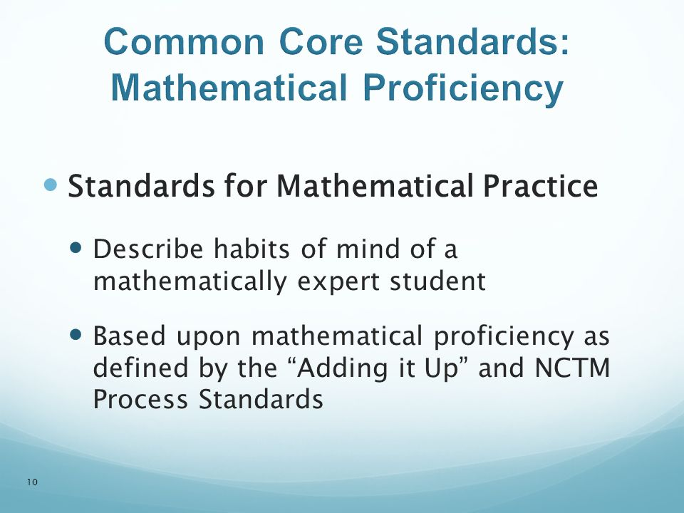 Common Core Standards: Mathematical Proficiency