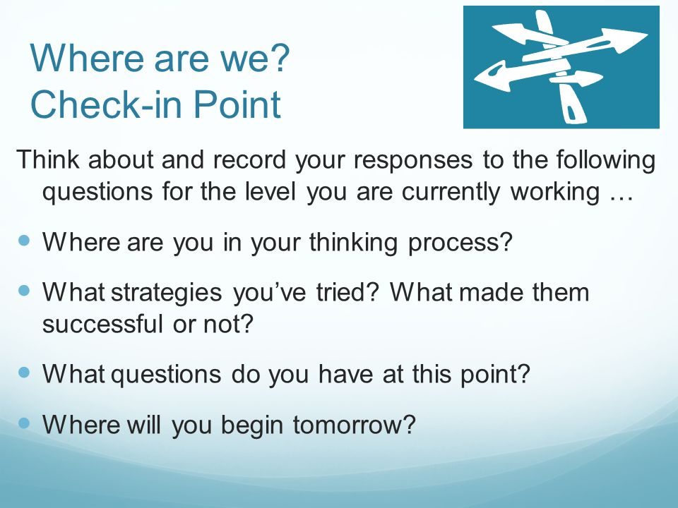Where are we Check-in Point