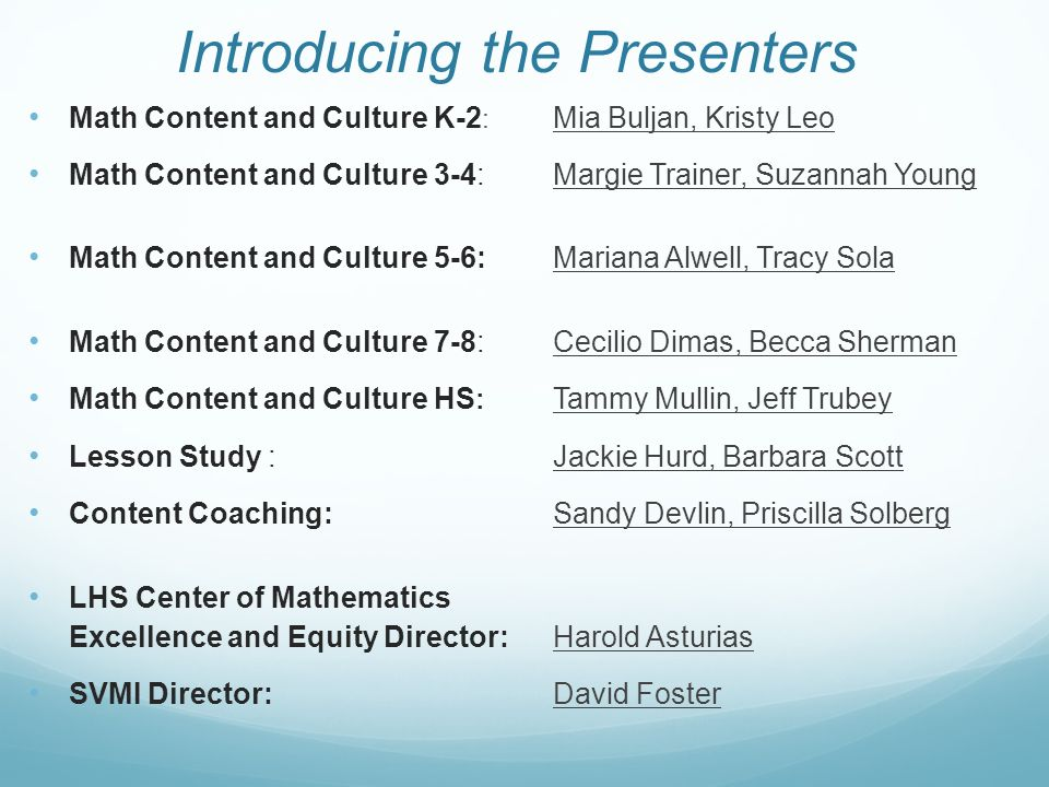 Introducing the Presenters