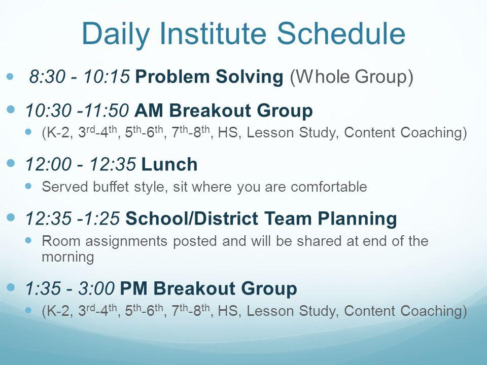 Daily Institute Schedule