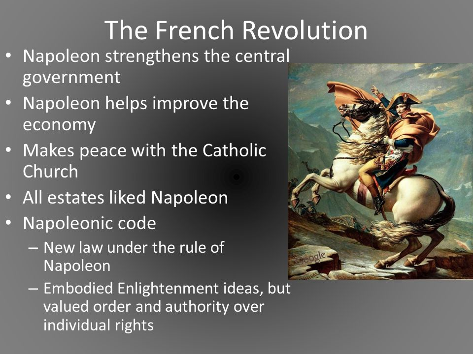 code napoleon and declaration of the rights The napoleonic code (code napoléon) is the french civil code of march 21, 1804, drafted and passed while napoleonic police state (1799-1815).