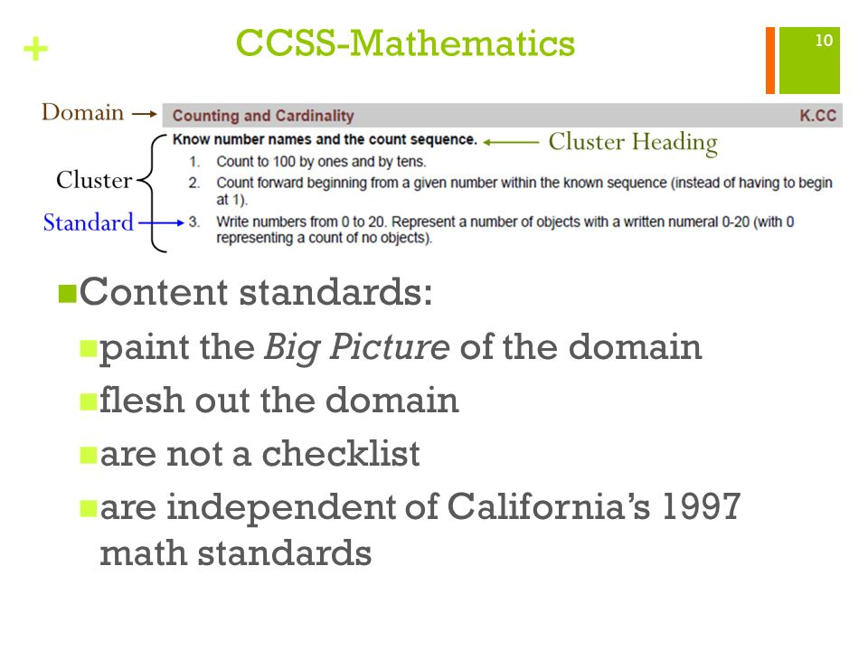 Content standards: CCSS-Mathematics
