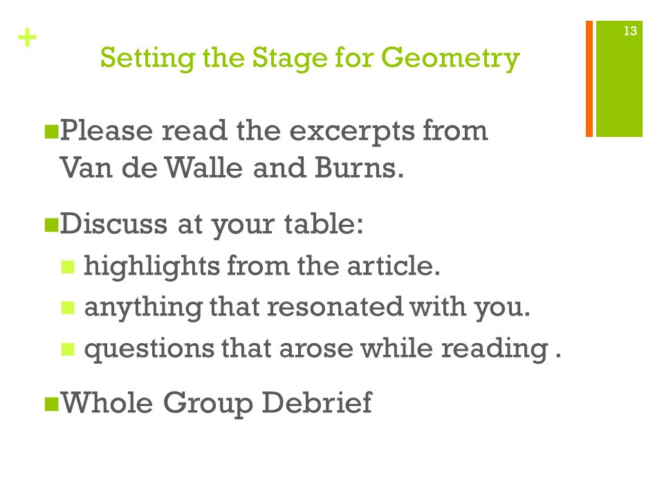 Setting the Stage for Geometry