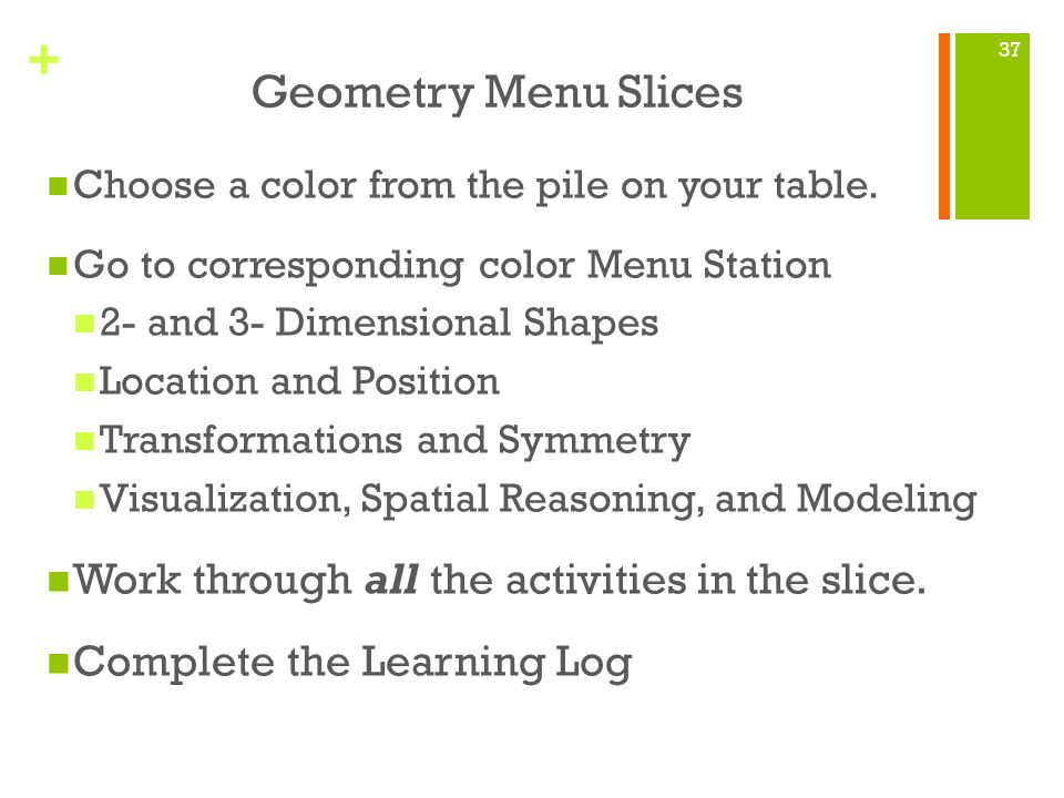 Geometry Menu Slices Work through all the activities in the slice.