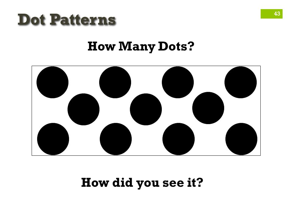 Dot Patterns How Many Dots How did you see it