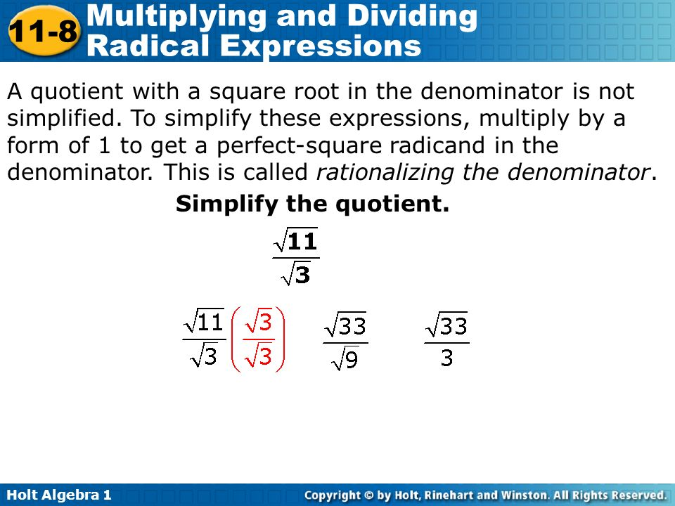 Objectives Multiply and divide radical expressions. - ppt video ...