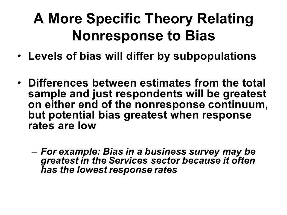 A More Specific Theory Relating Nonresponse to Bias