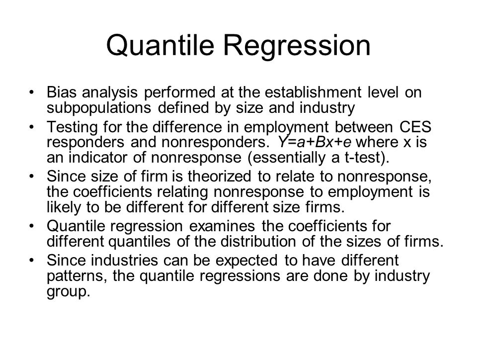 Quantile Regression Bias analysis performed at the establishment level on subpopulations defined by size and industry.