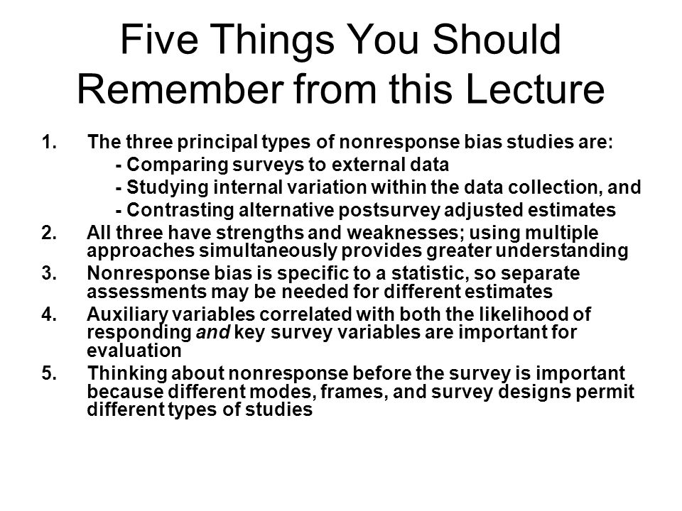Five Things You Should Remember from this Lecture