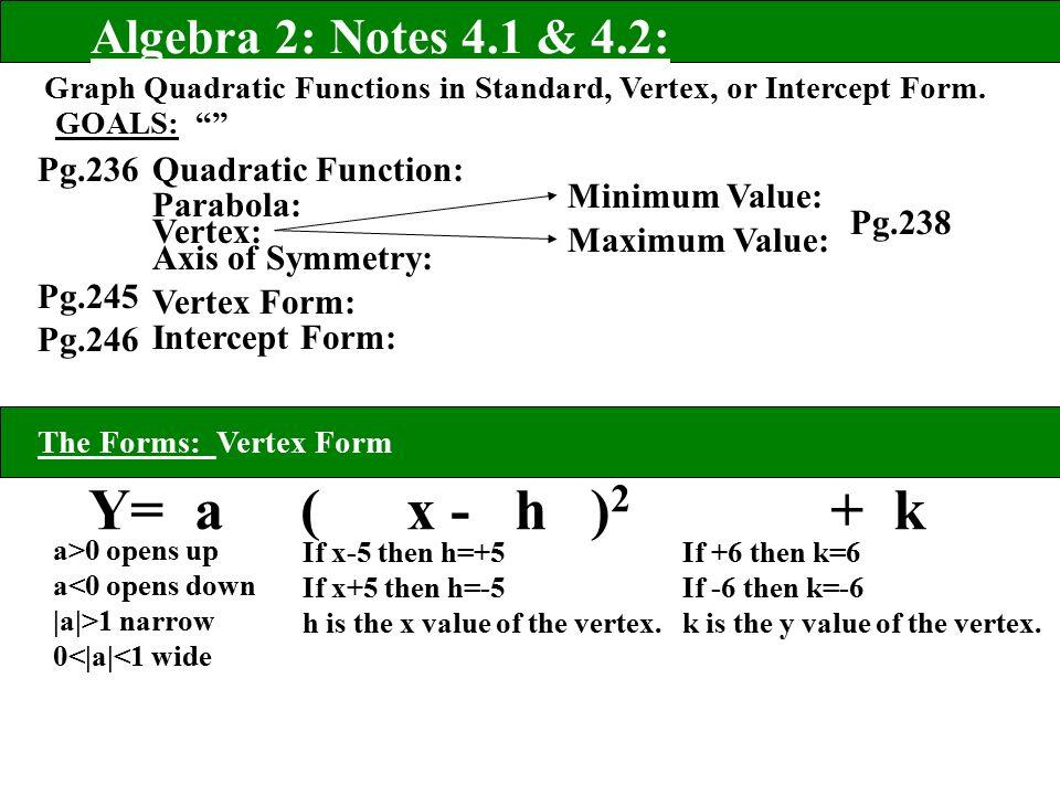 Y A X H 2 K Algebra 2 Notes 41 42 Pg236 Pg245 Pg Ppt