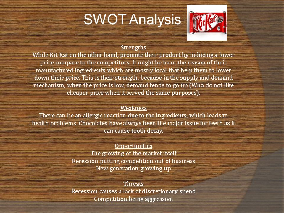 product and swot analysis of kinder bueno Swot analysis strengths- urban tourism  the representatives of product's range are present in every  kinder bueno est aujourd'hui le leader du.