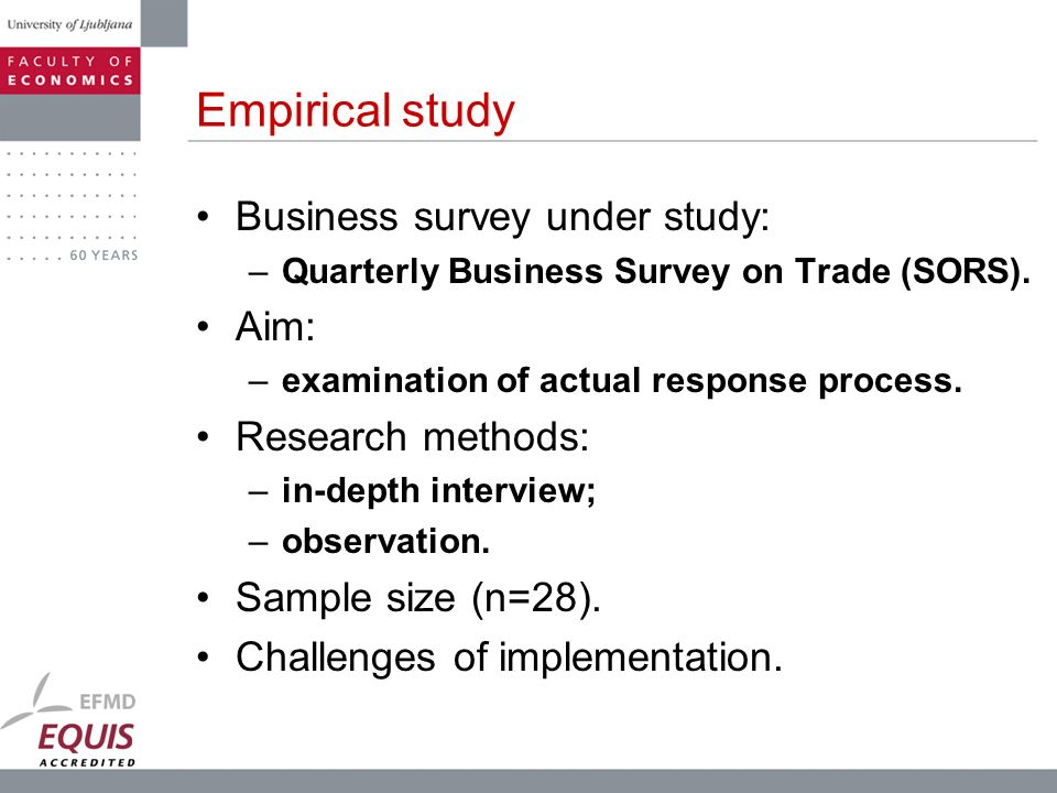 Empirical study Business survey under study: Aim: Research methods: