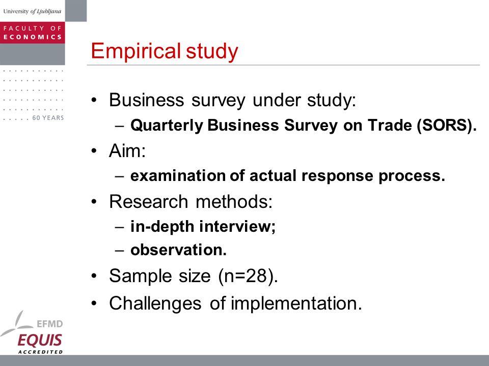Empirical study Business survey under study: Aim: Research methods:
