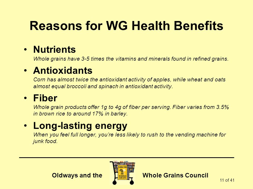 Reasons for WG Health Benefits