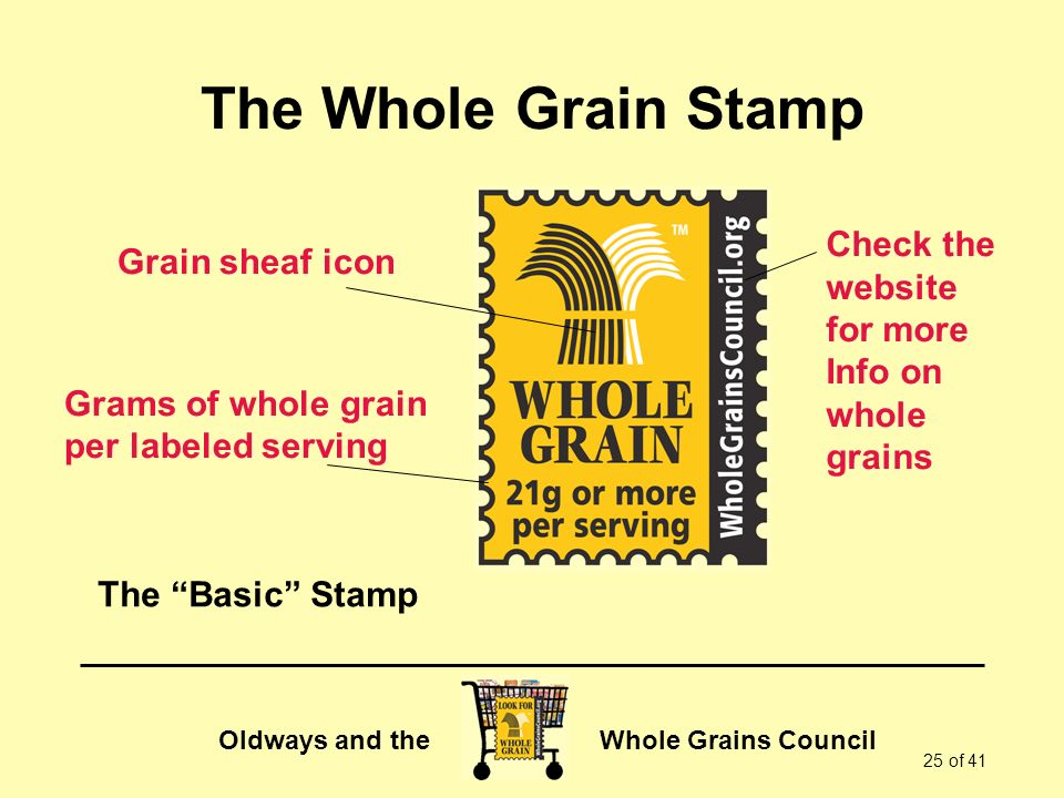 The Whole Grain Stamp Check the Grain sheaf icon website for more