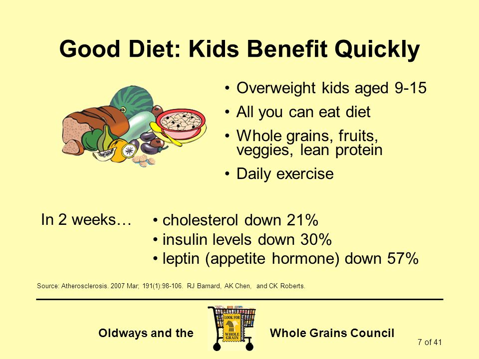 Good Diet: Kids Benefit Quickly