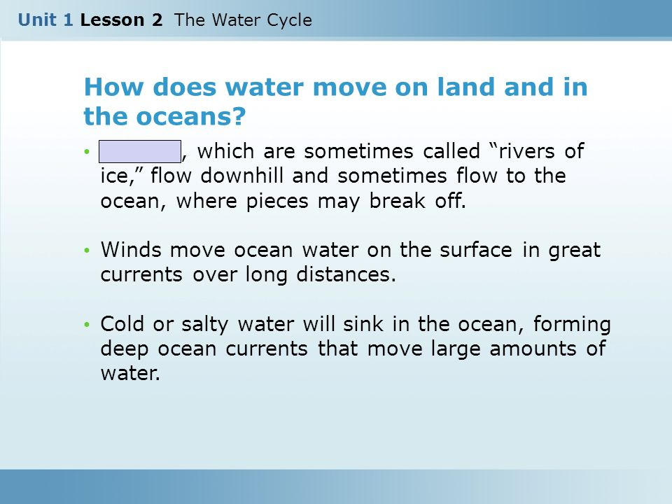 How does water move on land and in the oceans