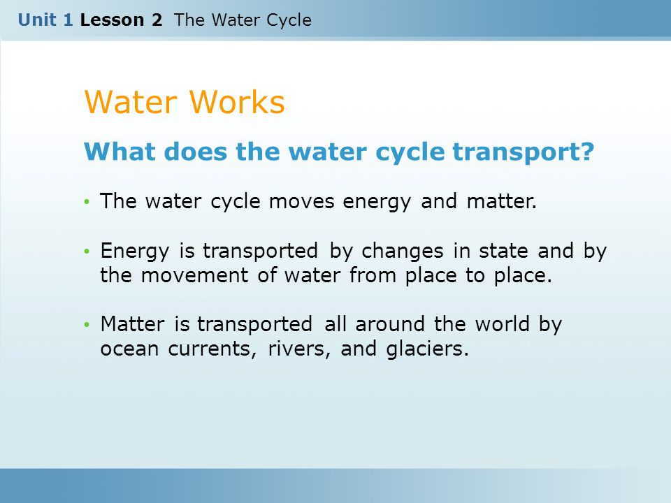 Water Works What does the water cycle transport