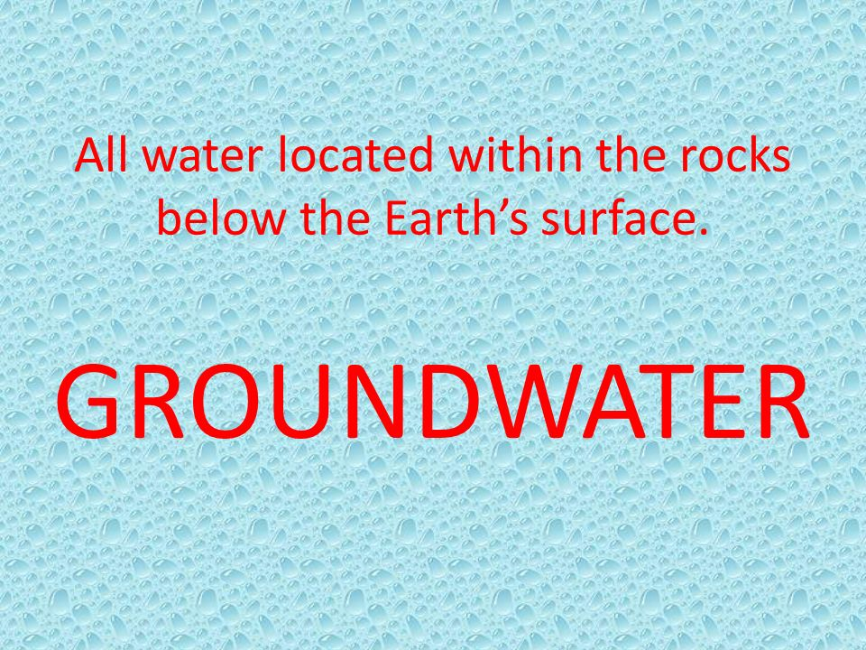 All water located within the rocks below the Earth's surface.