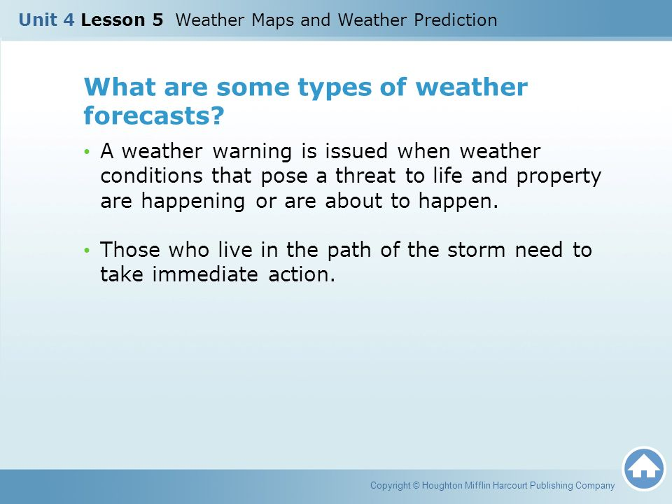 What are some types of weather forecasts