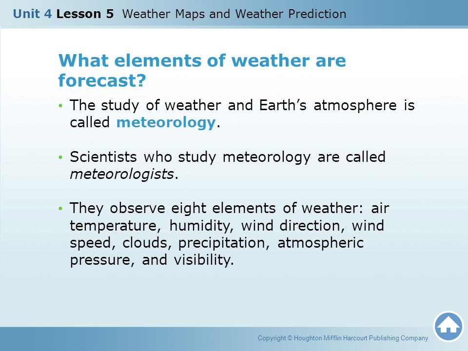 What elements of weather are forecast
