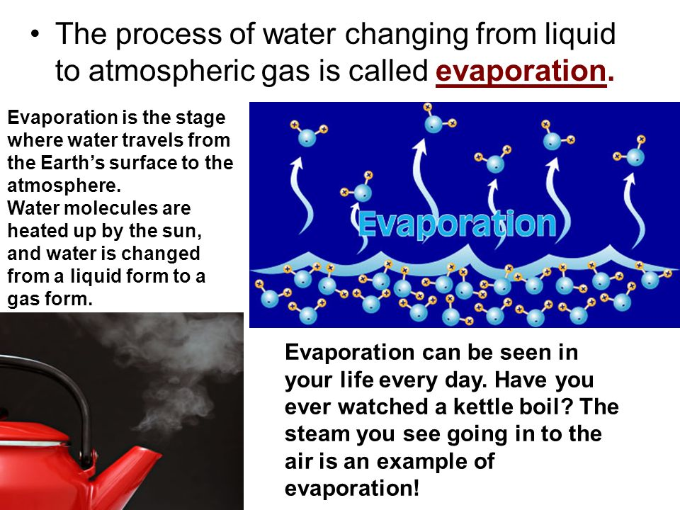 The process of water changing from liquid to atmospheric gas is called evaporation.