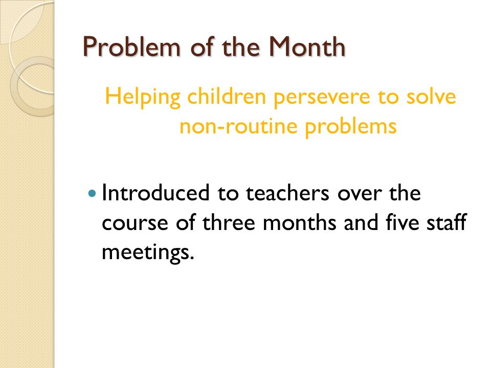 Helping children persevere to solve non-routine problems