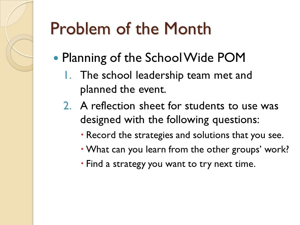 Problem of the Month Planning of the School Wide POM