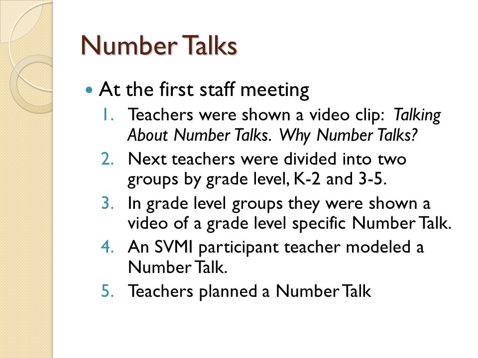 Number Talks At the first staff meeting