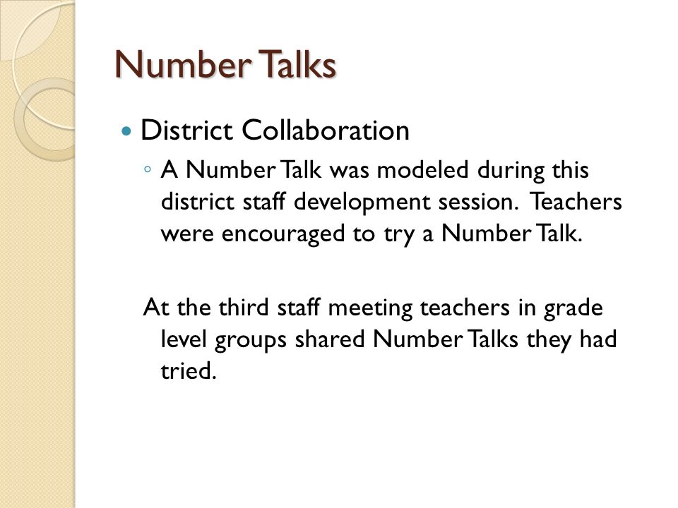 Number Talks District Collaboration