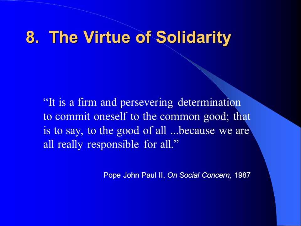 8. The Virtue of Solidarity