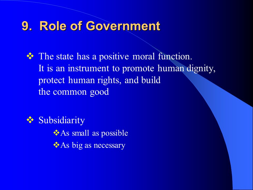 A paper on the role of government in human society