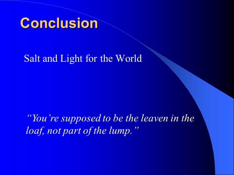 Conclusion Salt and Light for the World