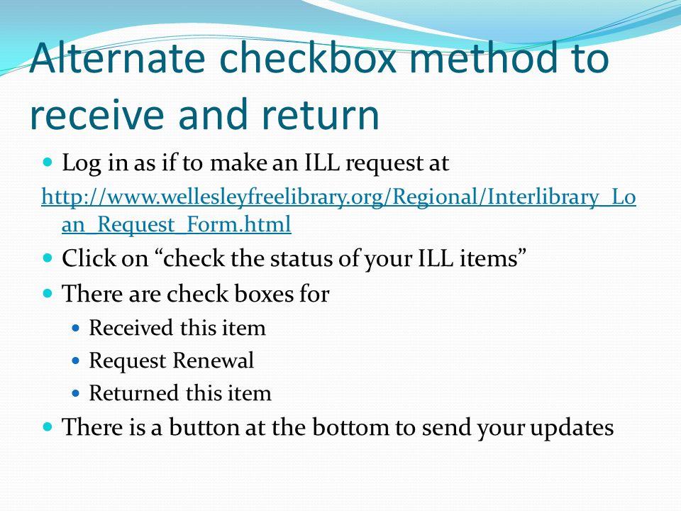 Alternate checkbox method to receive and return