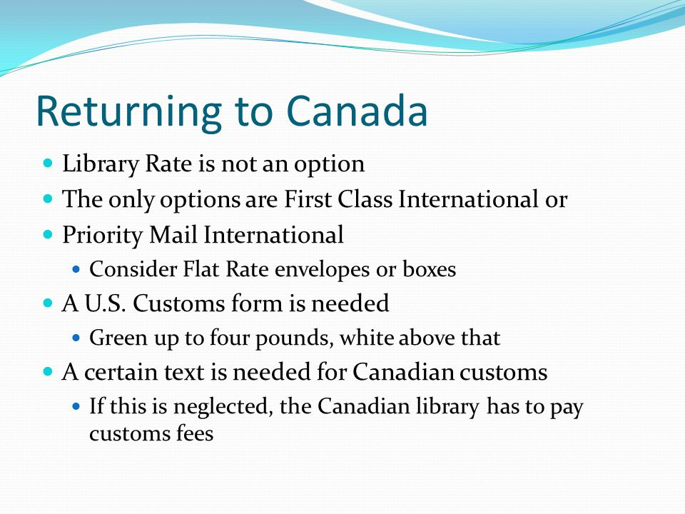 Returning to Canada Library Rate is not an option