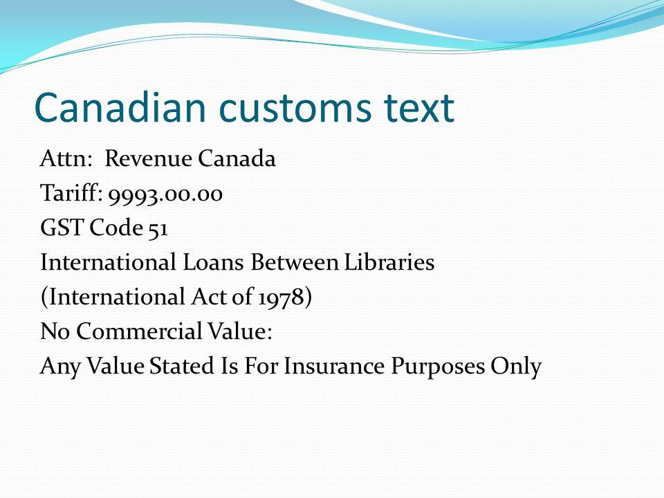 Canadian customs text