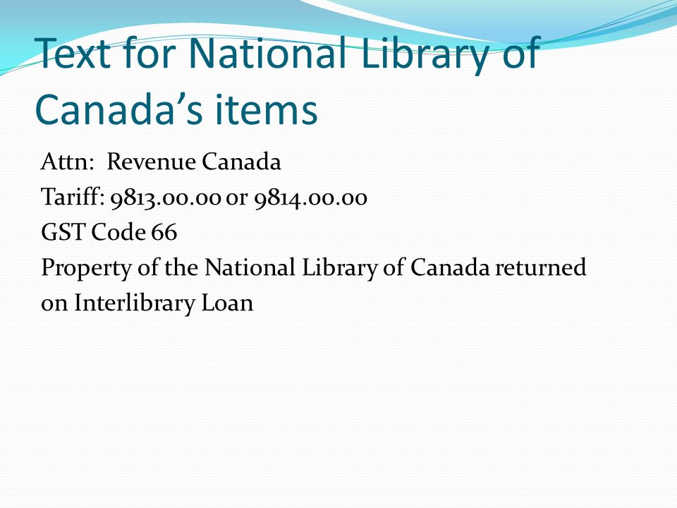 Text for National Library of Canada's items