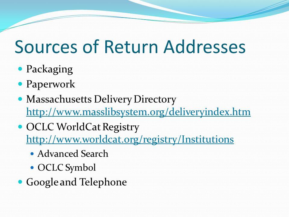 Sources of Return Addresses