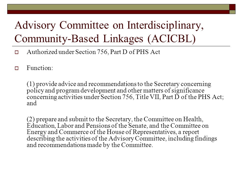 Advisory Committee on Interdisciplinary, Community-Based Linkages (ACICBL)
