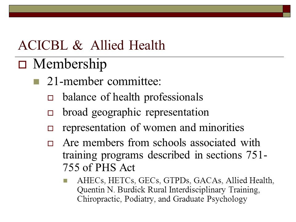 Membership ACICBL & Allied Health 21-member committee: