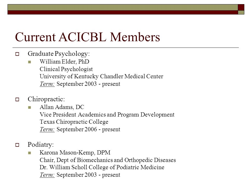 Current ACICBL Members