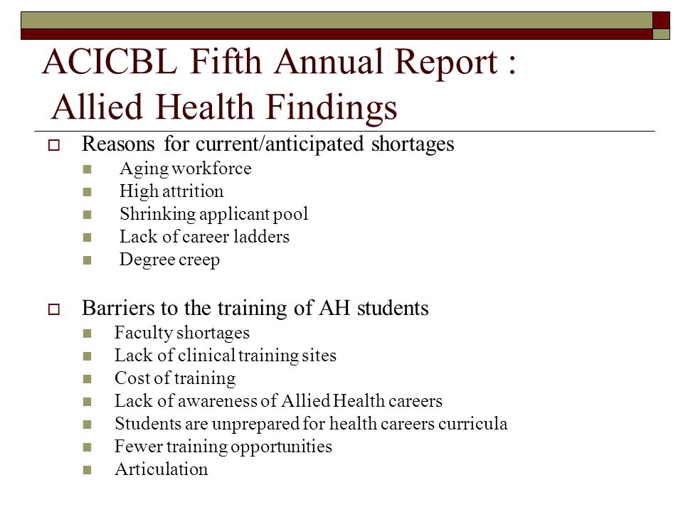 ACICBL Fifth Annual Report : Allied Health Findings